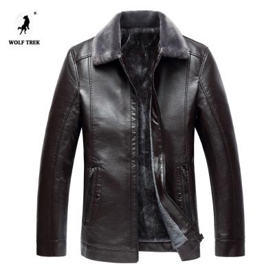 [WOLF TREK七匹狼國際發展有限公司授權】 冬季男裝皮夾克外套男加絨厚款大碼帶絨衣6XL7XL8XL大號皮衣