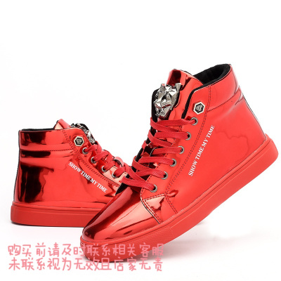秋季新款男士韩版潮流高帮休闲大码潮男青年厚底镜面板鞋 B02红色 44
