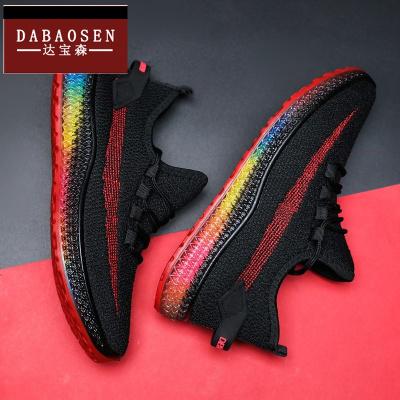DABAOSEN/達寶森戶外休閑鞋2020新款彩色果凍底夏季男鞋韓版潮流飛織鞋鞋男士跑步鞋