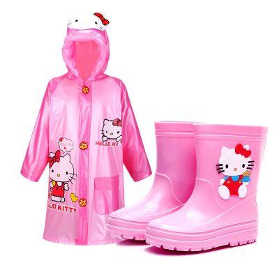 兒童中筒雨鞋男女貓咪kt雨靴托馬斯鞋防滑4-8歲小孩加絨四季