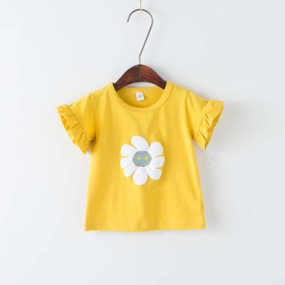 HKCP女童T恤童裝嬰幼兒童寶寶夏季.太陽花花邊短袖上衣小童打底衫