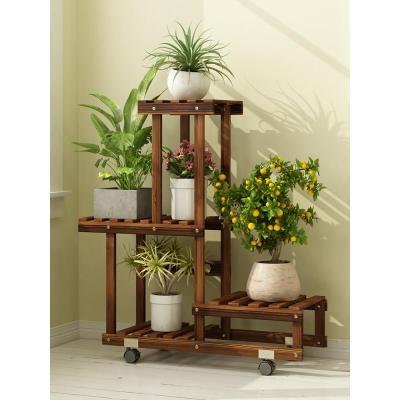 森美人實木花架子落地式多層多肉陽臺置物裝飾綠蘿客廳室內盆架掛架