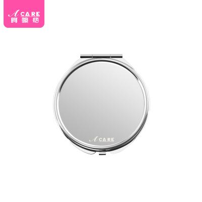 Acare随身大圆镜便携镜化妆镜不锈钢折叠镜可爱双面镜子韩国