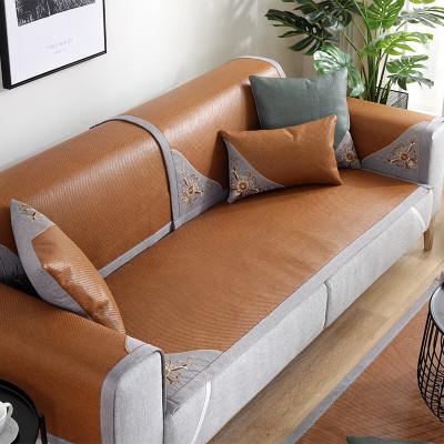 幸福派 夏季沙發墊涼席冰藤席坐墊夏天款布藝防滑四季客廳沙發套罩定制