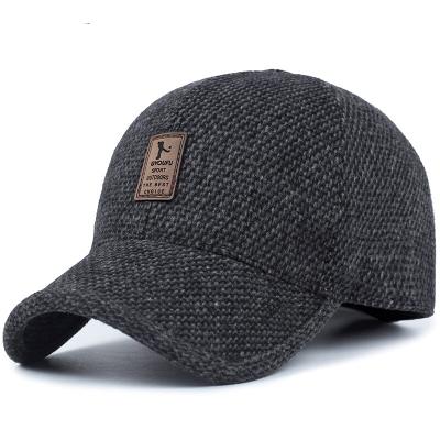 得云天帽子男士秋冬春天中老年加厚棒球帽毛呢帽休閑老人秋冬季保暖中年護耳鴨舌帽