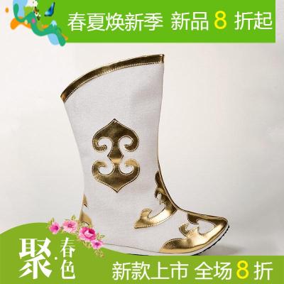蒙古靴子女藏族舞蹈鞋套男中筒靴软底舒适表演出儿童民族风鞋子