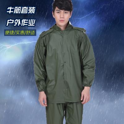 加厚牛筋海膠雨衣套裝男工地農用防水雨衣雨褲分體戶外騎行釣魚