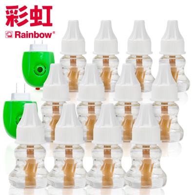 彩虹(RAINBOW)電蚊香液套裝(滅蚊液) 12瓶液 2個電蚊香器(無味360夜) 驅蚊液驅蚊器電熱蚊香液