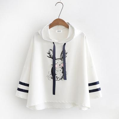 抹炫(MOXUAN)13中大童秋季新款卫衣14毛球印花兔系带中袖15女童帽衫16卫衣17岁