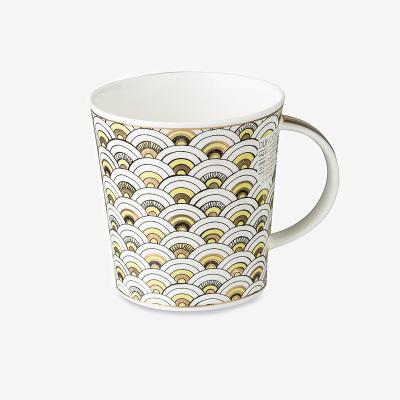 英國原產丹儂DUNOON骨瓷馬克杯水杯撒馬爾罕系列扇形圖案