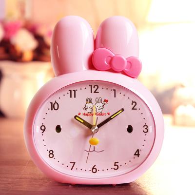 北極星(POLARIS)可愛卡通靜音學生小鬧鐘兒童音樂鬧鈴時鐘帶小夜燈客廳臥室床頭鐘電子鐘表