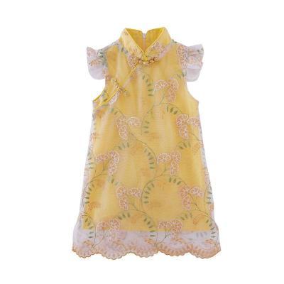 童装女童旗袍2019夏装新款儿童盘扣刺绣蕾丝夏季中国风连衣裙威珺