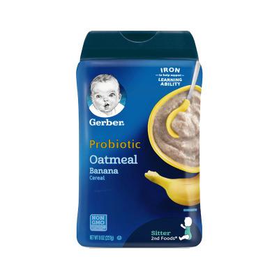 嘉寶(Gerber)香蕉燕麥谷物益生菌米粉 2段 227g/罐裝 原裝進口 6-9月及以上