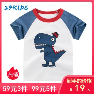 27Kids 兒童T恤韓版時尚休閑童裝春夏季兒童T恤短袖男孩恐龍寶寶衣服
