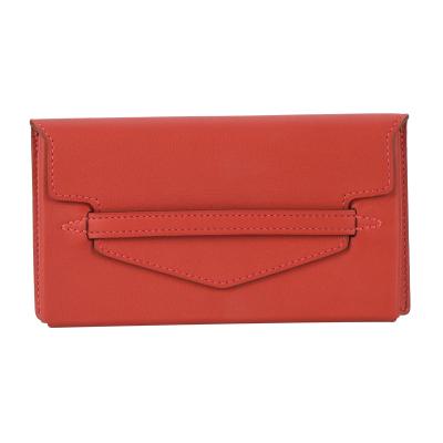 【正品二手99新】未使用  HERMES 紅色牛皮翻蓋卡包零錢包T刻 10016370