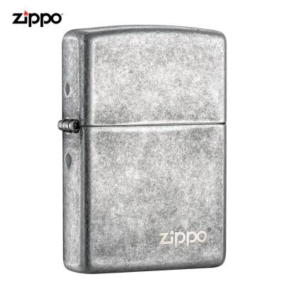 zippo芝寶打火機原裝ZIPPO之寶煤油打火機仿古銀商標121FBZL-000018