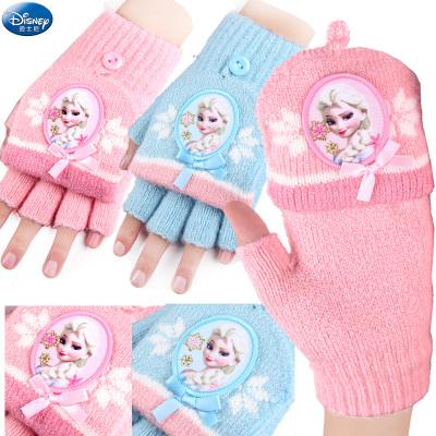 迪士尼儿童手套冬保暖针织翻盖半指女童冰雪奇缘公主幼儿宝宝五指