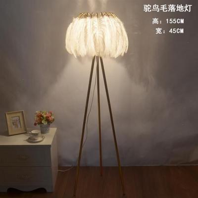 落地灯羽毛灯客厅宜家钓鱼灯创意简约现代北欧LED卧室羽毛台灯 直杆款-白杆-白罩-遥控调光