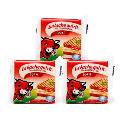 樂芝牛奶酪芝士 早餐搭配原裝進口再制干酪 吐司原味切片奶酪200g*3袋
