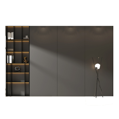 拉迷全屋定制客廳電視墻現代輕奢護墻板背景墻裝飾板鑲嵌金屬邊框