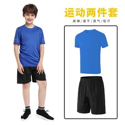儿童健身套装男训练服短袖薄夏季篮足球运动跑步速干衣衫宽松口袋