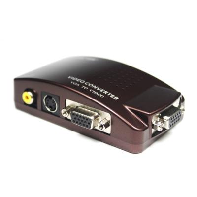 VGA转AV 电脑VGA转接到老电视AV莲花头 vga变av video 视频转换器