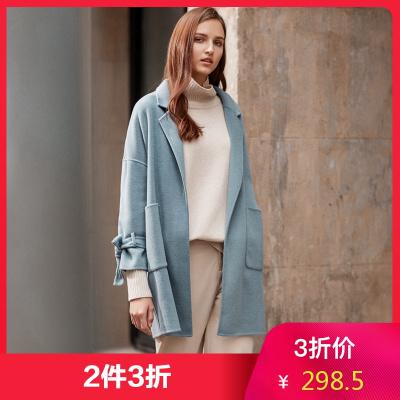 【2件3折價:298.5】羊毛MECITY女chic雙面呢大衣通勤單排扣外套中長款