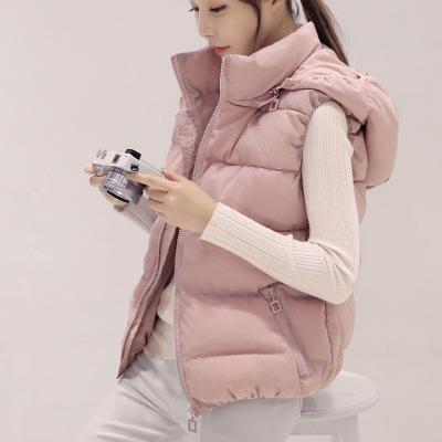 佐露絲RALOS2020秋冬新款棉馬甲女學生短款韓版可拆卸連帽羽絨棉背心大碼外套