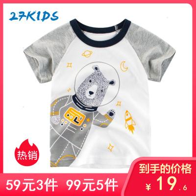 27kids 童裝新款2019 夏季兒童短袖T恤男女衣服韓版卡通純棉兒童服裝嬰童T恤