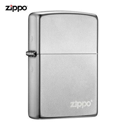 ZIPPO芝寶打火機原裝ZIPPO煤油之寶打火機205-C-000035鍛紗鍍鉻-經典商標