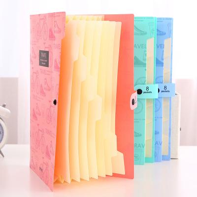 得力(deli)5737風琴包文件夾A4文件夾多層學生用塑料試卷夾收納袋文件袋學生小清新風琴包混色單個裝