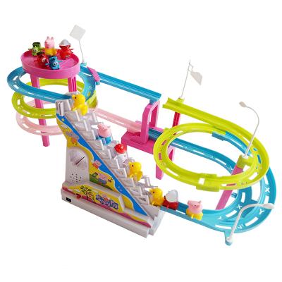 【配9只小豬】抖音同款小豬佩琪爬樓梯玩具公仔玩偶電動燈光音樂上樓梯滑滑梯軌道玩具
