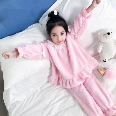 女童睡衣春秋2018新款冬季珊瑚绒家居服套装韩版宝宝潮长袖中大童