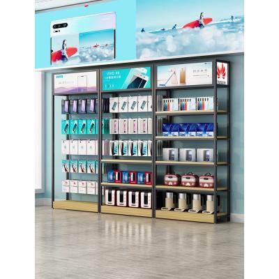 手機配件柜展示架超市便利店零食小食品可拆卸掛鉤飾品帶燈箱貨架