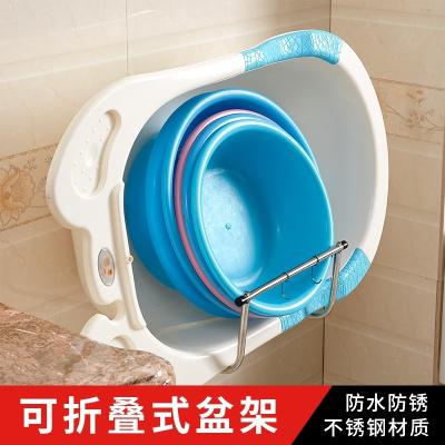 衛生間置物架壁掛式浴室免打孔不銹鋼可折疊盆架子放洗臉盆收納架