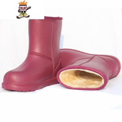 加绒雨鞋女保暖胶鞋防水雨靴成人中筒冬季防滑套鞋水靴棉加厚水鞋