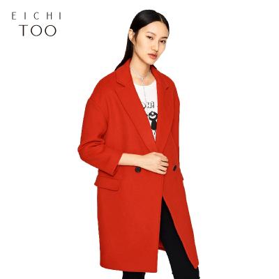 EICHITOO爱居兔冬装大红色双排扣中长款女士大衣