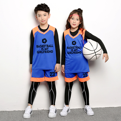 兒童籃球服套裝中童球衣緊身衣秋冬兒童訓練服四件套兩件套