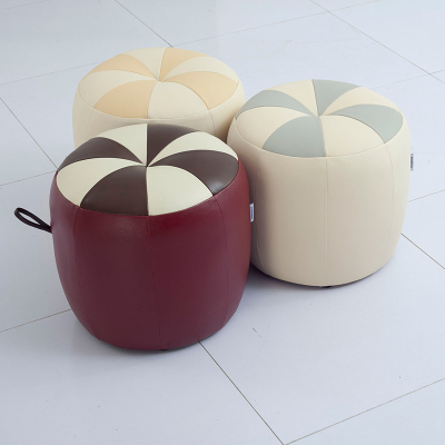 左右沙發真皮圓凳 換鞋凳 梳妝凳 皮凳 簡約現代客廳皮質家具組合