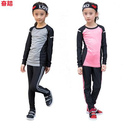 兒童緊身衣運動健身瑜珈服跑步打底訓練服彈力透氣速干衣加絨女童