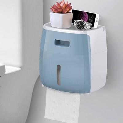 卫生纸盒卫生间纸巾厕纸置物架厕所家用免打孔创意防水抽纸卷纸筒 双层 睿智蓝(收藏加购优先发货)