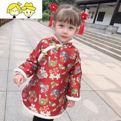 女童拜年服宝宝1红色中国风2岁秋冬装儿童旗袍加厚小公主过年裙子  绿彩虹光