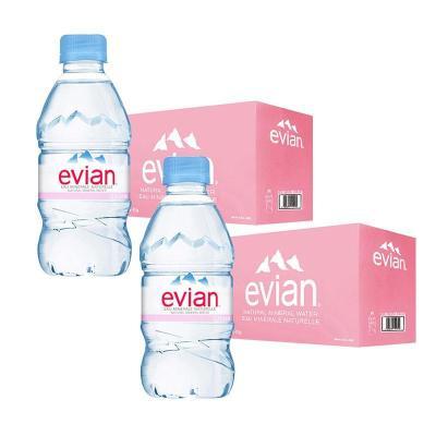 2件裝| 依云(evian)礦泉水 330ml*24瓶/箱 進口飲用水 礦物質水 法國進口