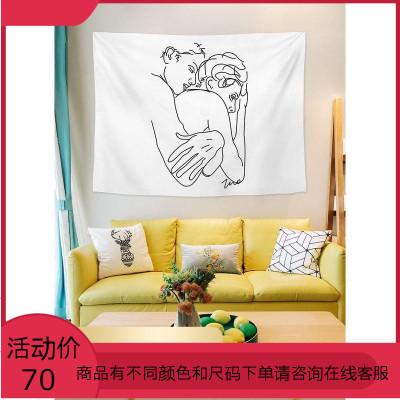現代簡約ins背景布簡筆畫掛布房子墻面裝飾布置墻布宿舍床頭掛毯