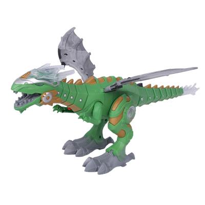 酷伴樂 機械噴火電動恐龍玩具噴霧仿真動物走路霸王龍智能機器人兒童玩具 綠色