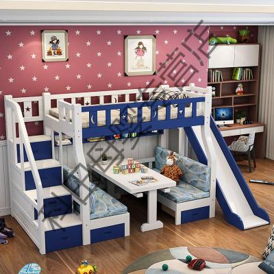 上下床雙層床 兒童床多功能帶滑梯公主床書桌床 實木子母床高低床 拖床另加 1350mm*2000mm更多組合形式