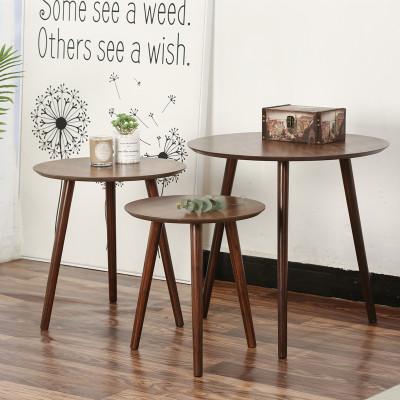 尋木匠北歐日式黑胡桃實木茶幾小戶型小桌子小茶桌圓桌現代簡約邊幾角幾