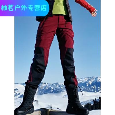戶外冬季拼色耐磨保暖抓絨防潑水透氣軟殼褲沖鋒褲女式