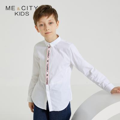 【1件2.7折:50.2】米喜迪mecity童裝春新款男童長袖襯衫織帶裝飾全棉白襯衫