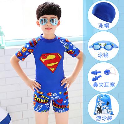 3-14岁分体儿童泳衣男 小男孩中大童卡通泳装宝宝游泳衣套装批发